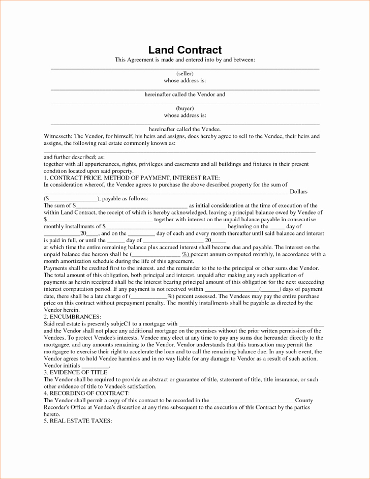 Free Land Contract Template Elegant Template Land Contract Template