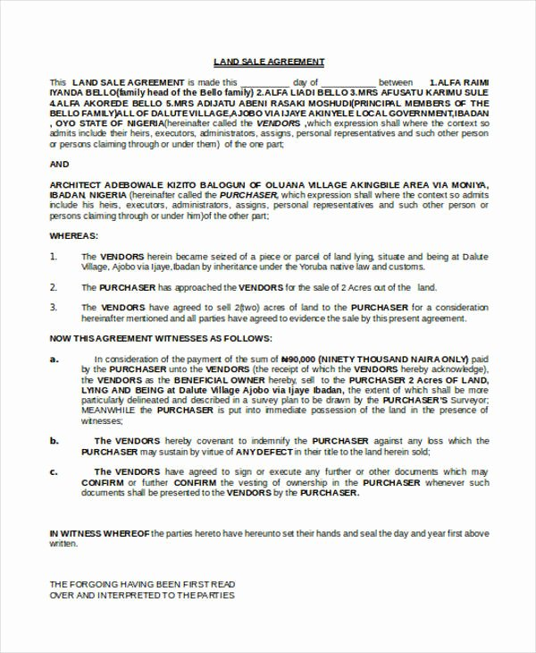 Free Land Contract Template Fresh 9 Land Contract Templates Free Sample Example format