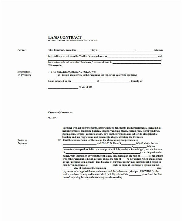 Free Land Contract Template Fresh Land Contract Templates