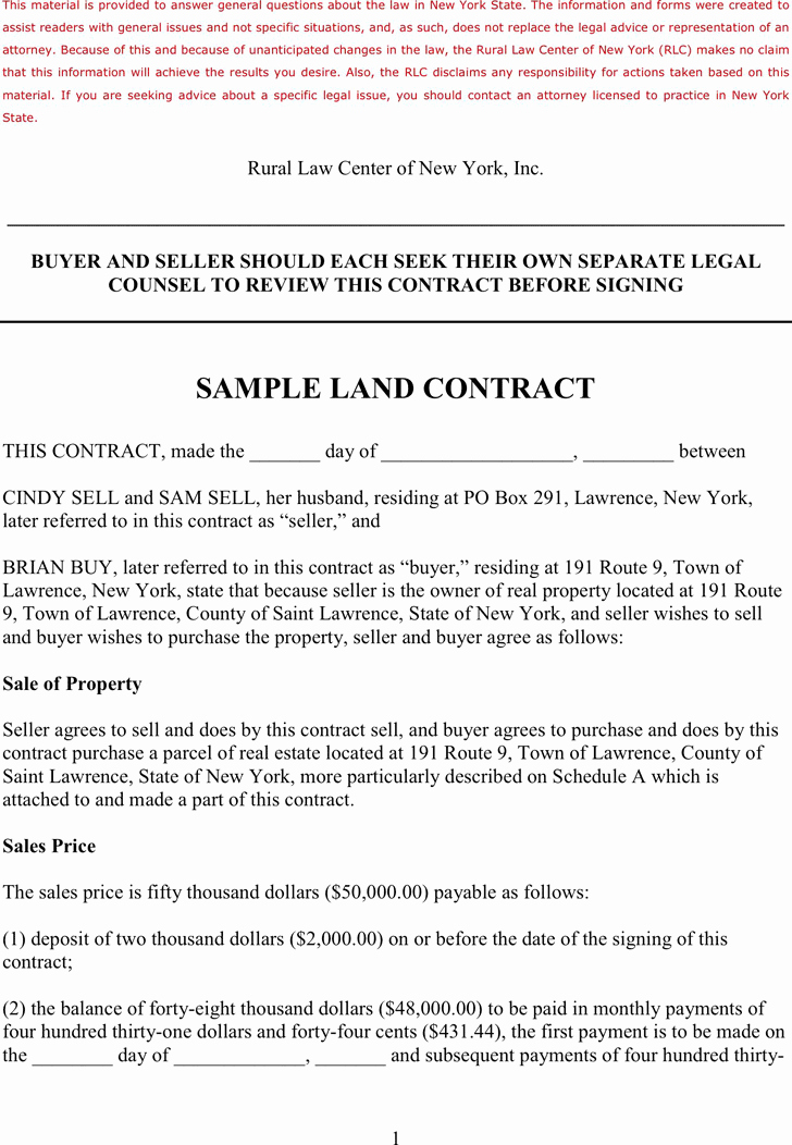 Free Land Contract Template Inspirational Simple Land Contract Template Templates Data