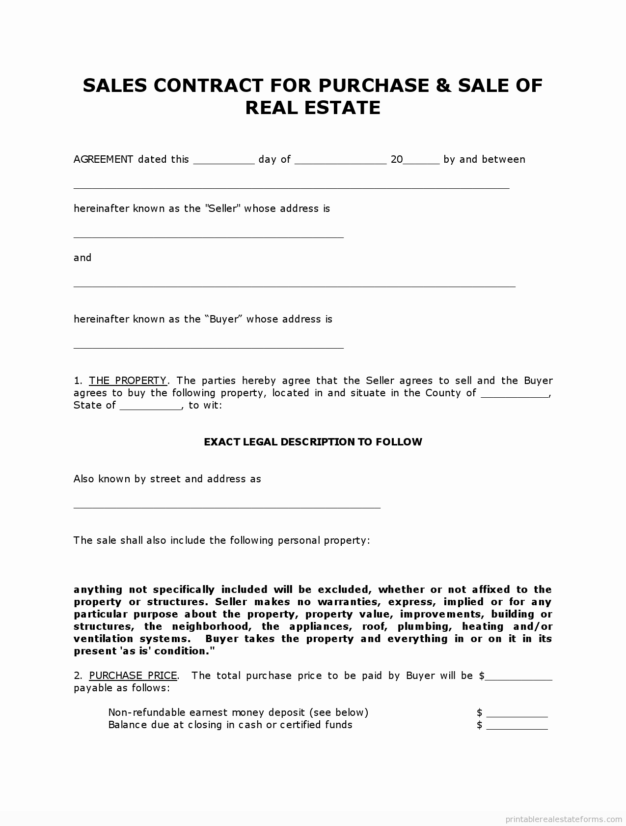 Free Land Contract Template Lovely Free Printable Land Contract forms Word File