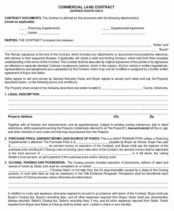 Free Land Contract Template Lovely Simple Land Contract form Fresh Free Lease Agreement
