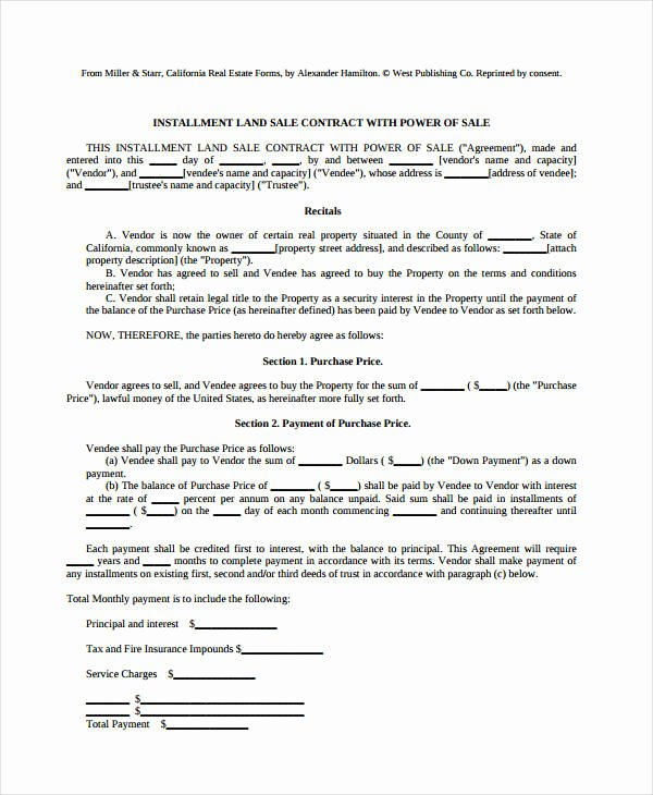 Free Land Contract Template New 7 Land Contract forms Free Sample Example format