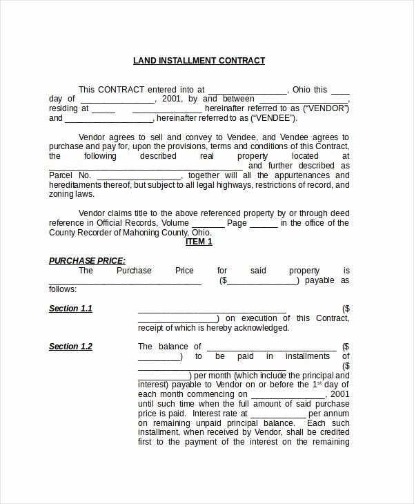 Free Land Contract Template Unique Sample Land Contract form 8 Free Documents In Pdf Doc