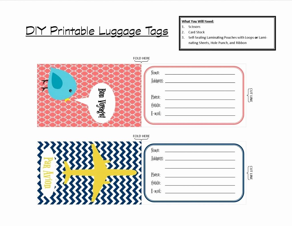 Free Luggage Tag Template Awesome Printable Tags