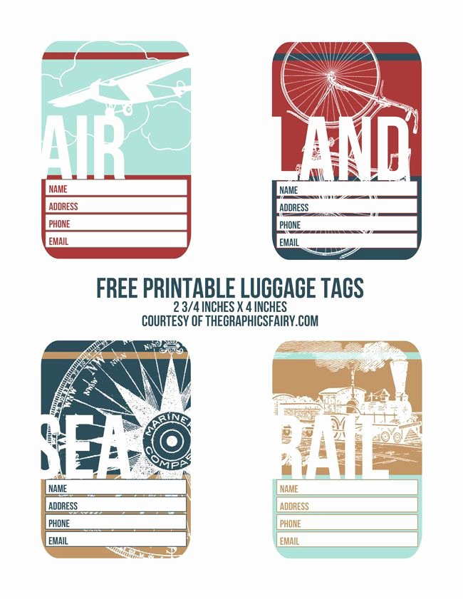 Free Luggage Tag Template New Cutest Printable Luggage Tags Printables