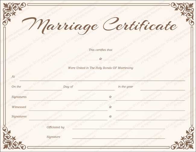 Free Marriage Certificate Template Fresh Chocolate Border Marriage Certificate Template Get
