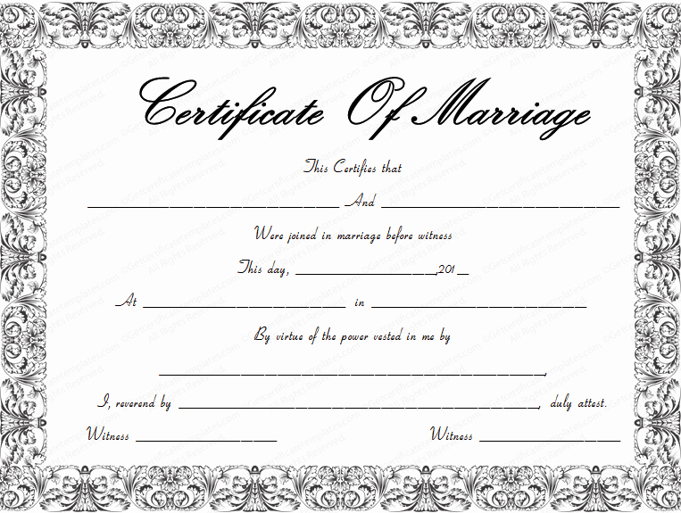 Free Marriage Certificate Template Lovely Fountain Swirls Marriage Certificate Template