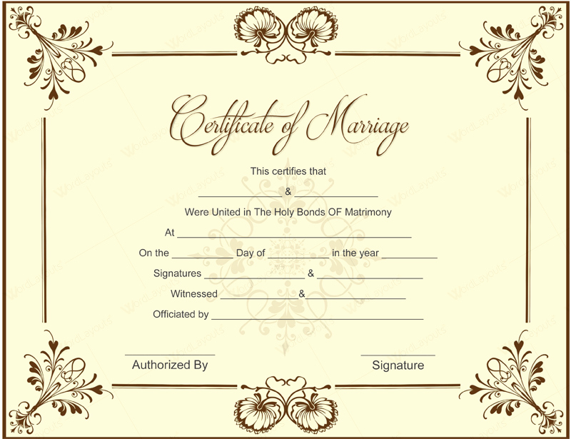 Free Marriage Certificate Template Lovely Printable Marriage Certificate Templates 10 Editable