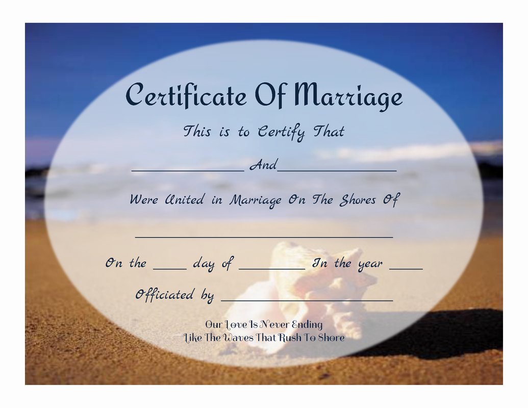 Free Marriage Certificate Template Unique 8 Best Of Free Printable Beach Certificate Free