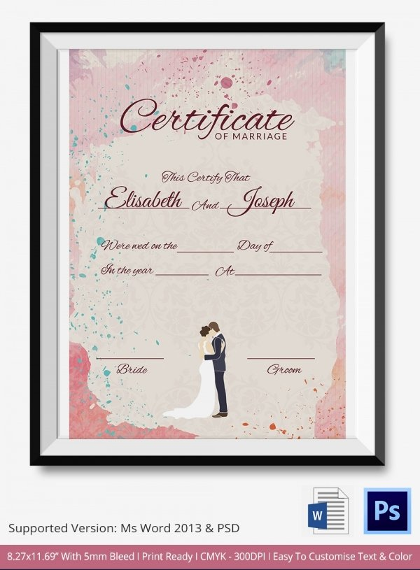 Free Marriage Certificate Template Unique Marriage Certificate Template 12 Free Word Pdf Psd