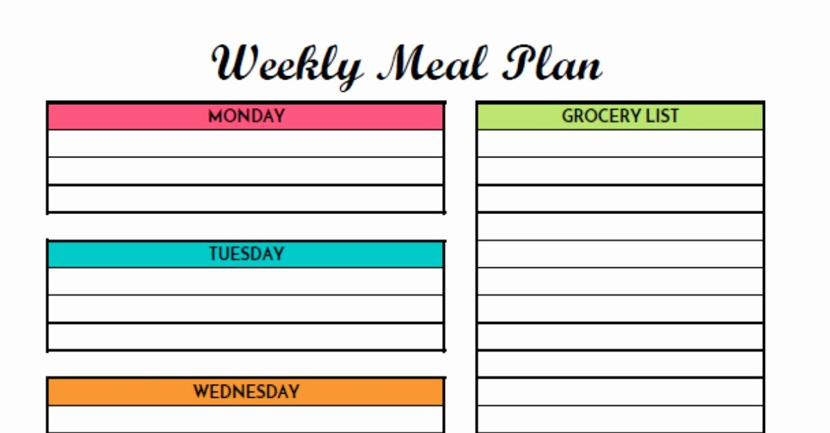 Free Meal Planner Template Awesome Free Weekly Meal Planning Printable with Grocery List
