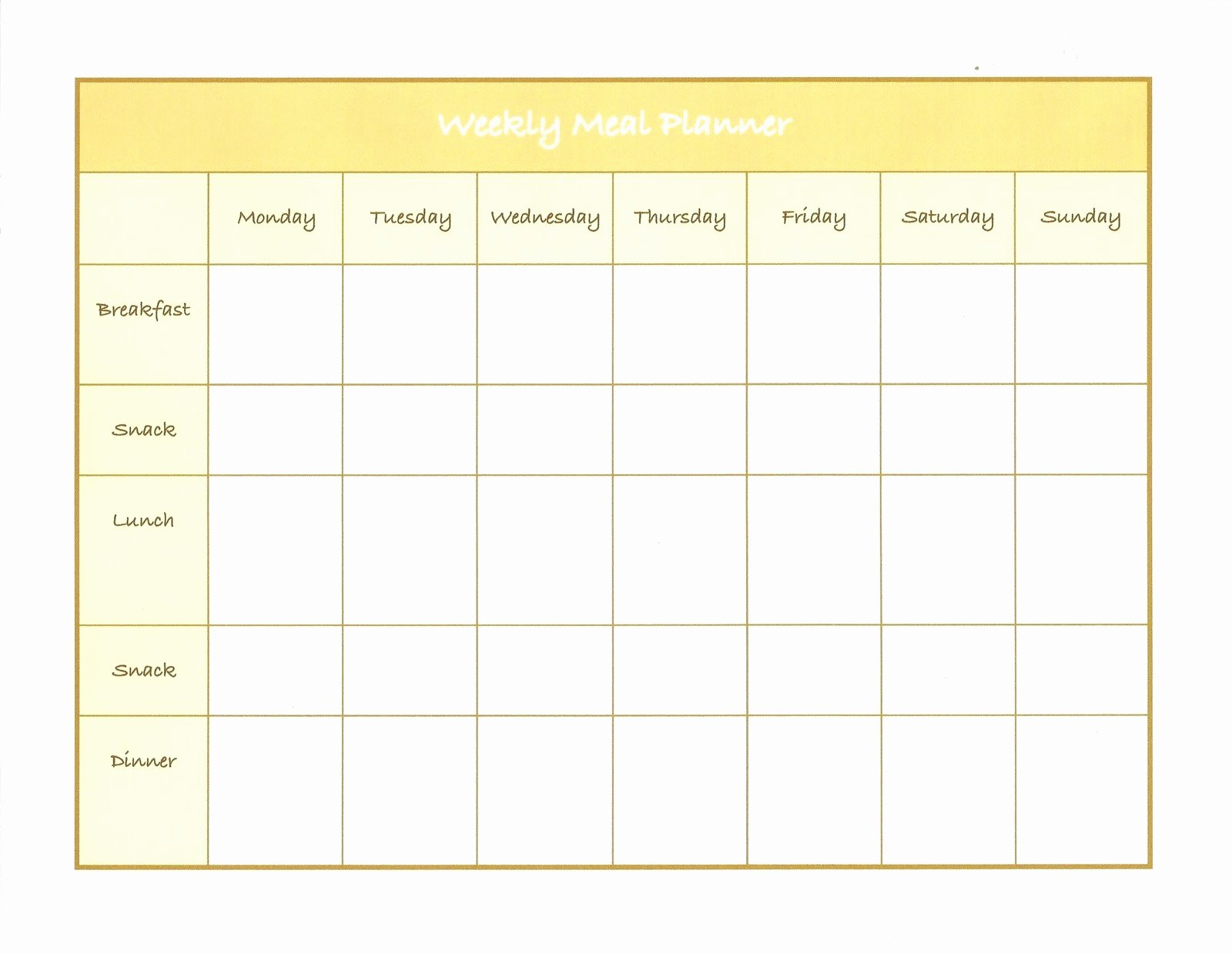Free Meal Planner Template Awesome Meal Planner Template