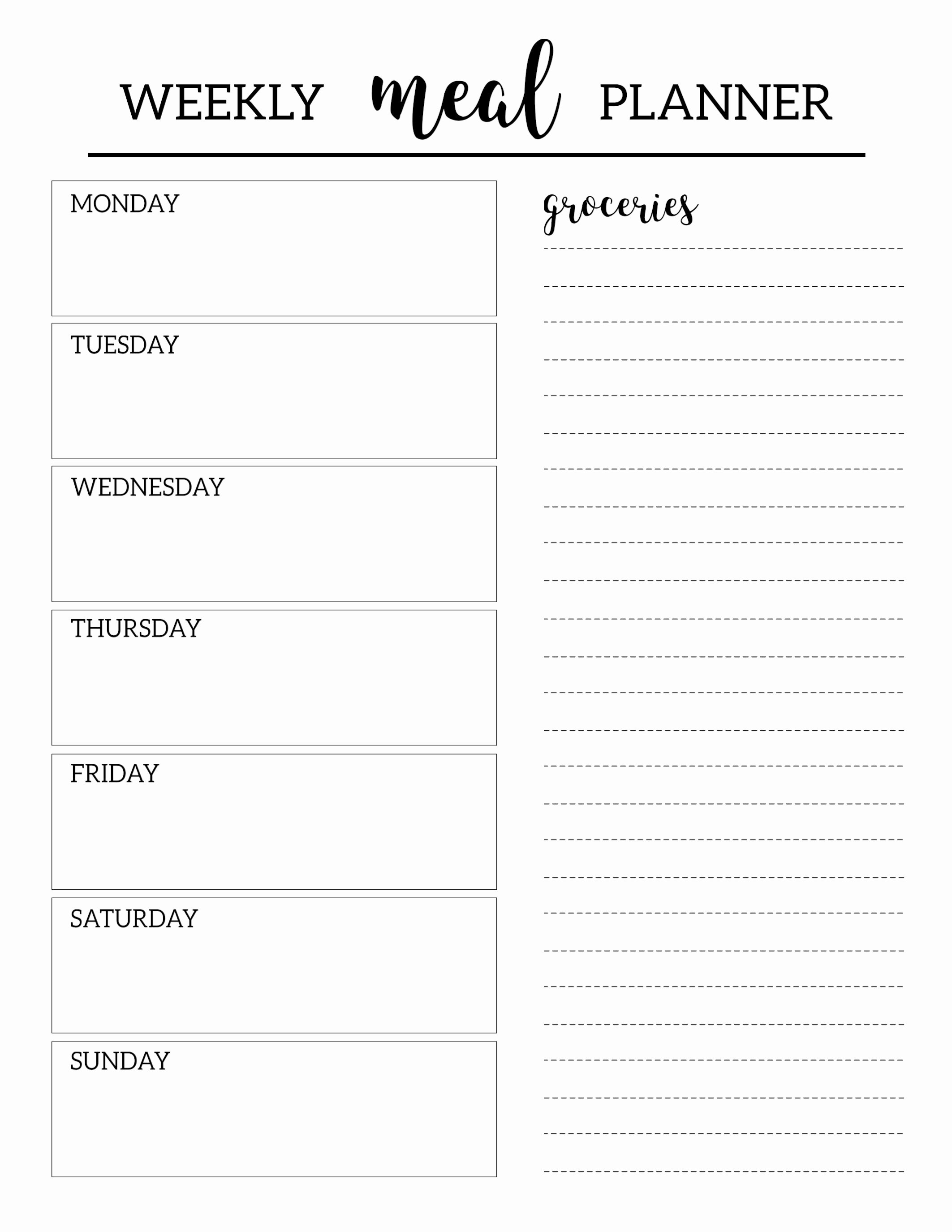 Free Meal Planner Template Beautiful Free Printable Meal Planner Template Paper Trail Design