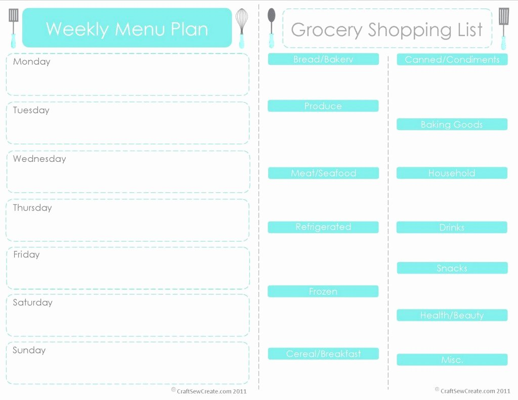 Free Meal Planner Template Fresh 28 Free Printable Grocery List Templates