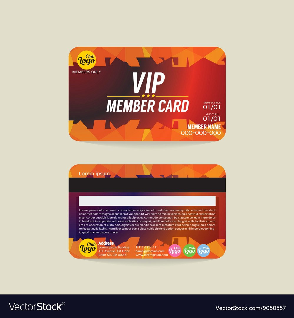 Free Membership Card Template Best Of Front and Back Vip Member Card Template Royalty Free Vector