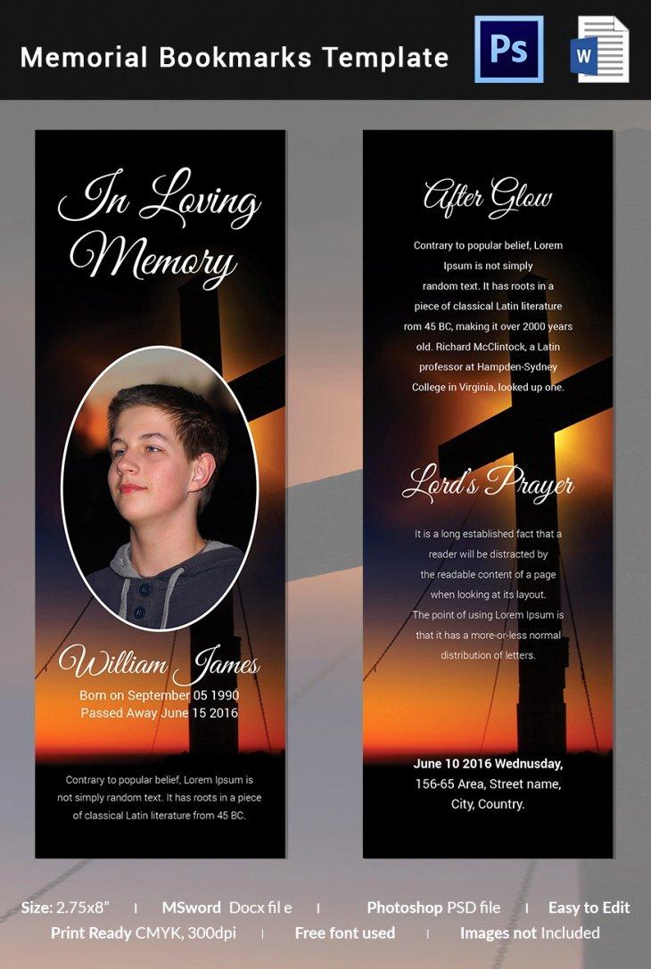 Free Memorial Card Template Beautiful 5 Memorial Bookmark Templates – Free Word Pdf Psd