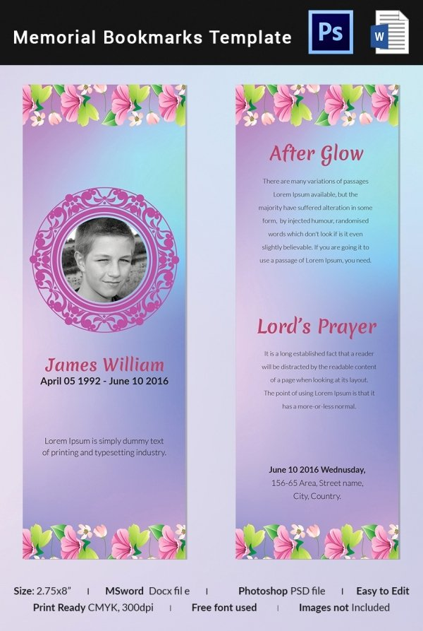 Free Memorial Card Template Elegant 10 Memorial Bookmarks Templates Free Psd Ai Eps