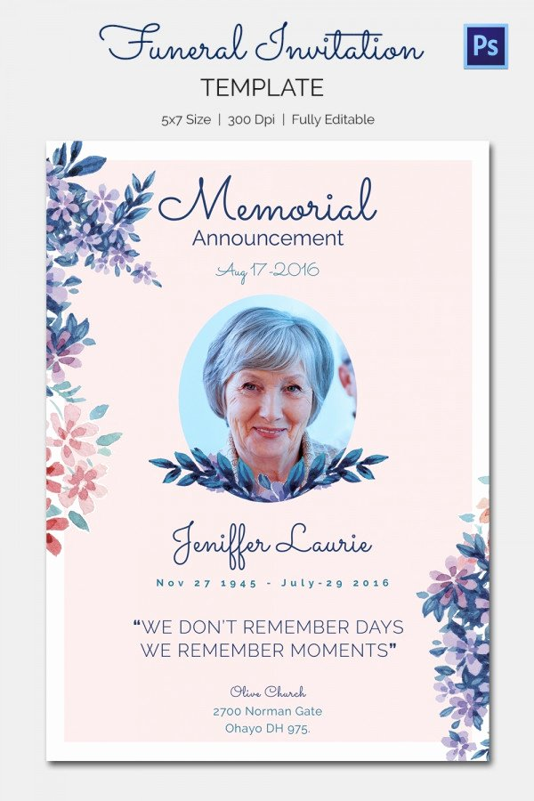 Free Memorial Card Template New 15 Funeral Invitation Templates – Free Sample Example