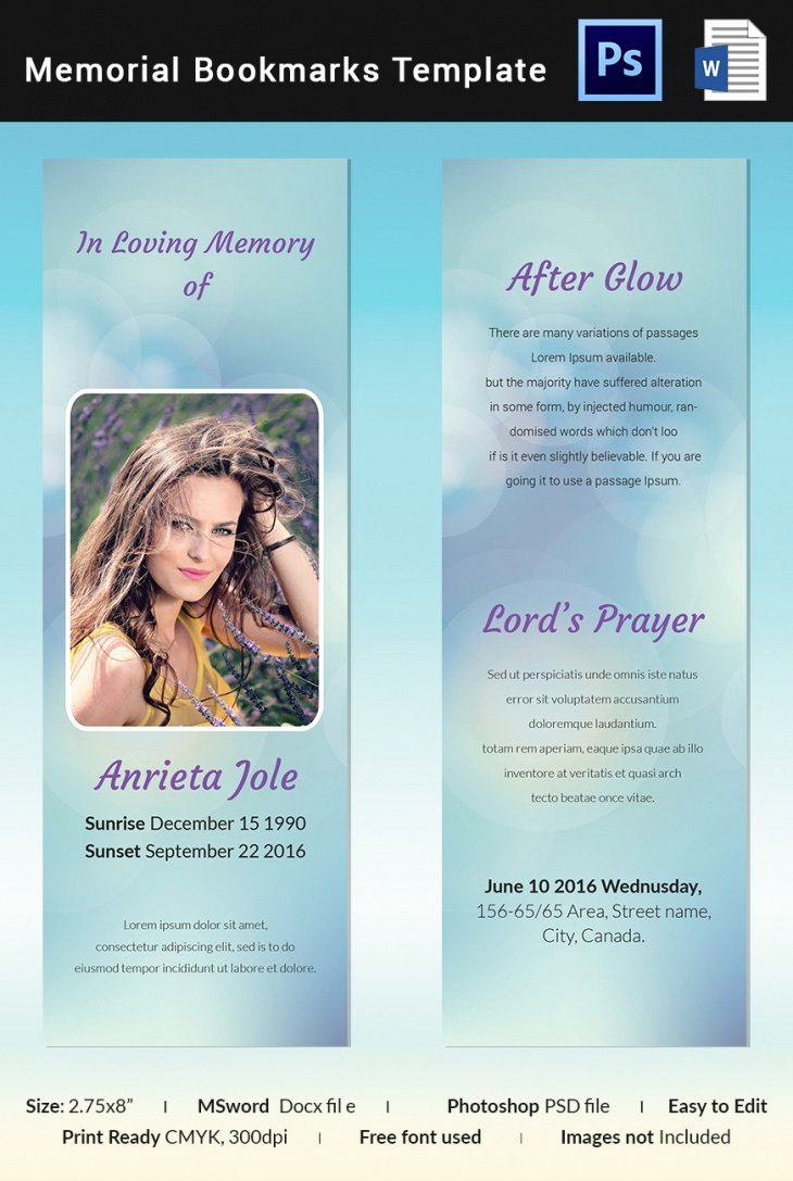 Free Memorial Cards Template Fresh 5 Memorial Bookmark Templates – Free Word Pdf Psd