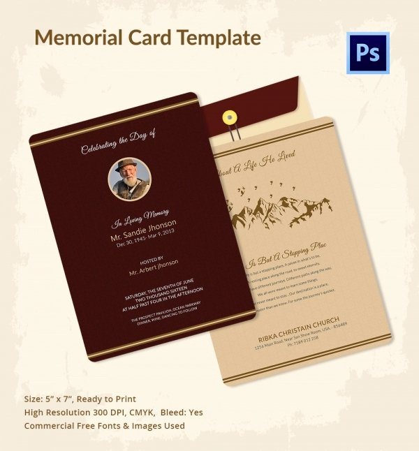 Free Memorial Cards Template Lovely 21 Obituary Card Templates – Free Printable Word Excel