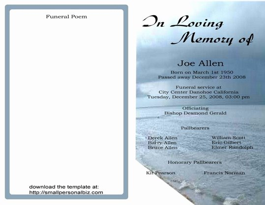 Free Memorial Cards Template Luxury 9 Best Of Free Printable Funeral Programs Elegant