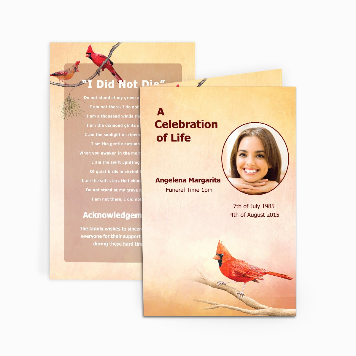 Free Memorial Cards Template Luxury Cardinal Funeral Card Funeral Pamphlets