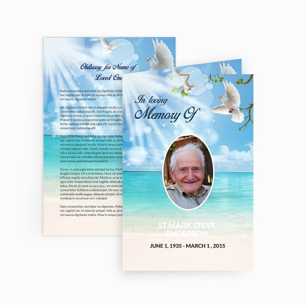 Free Memorial Cards Template Luxury Dove Funeral Card Funeral Pamphlets