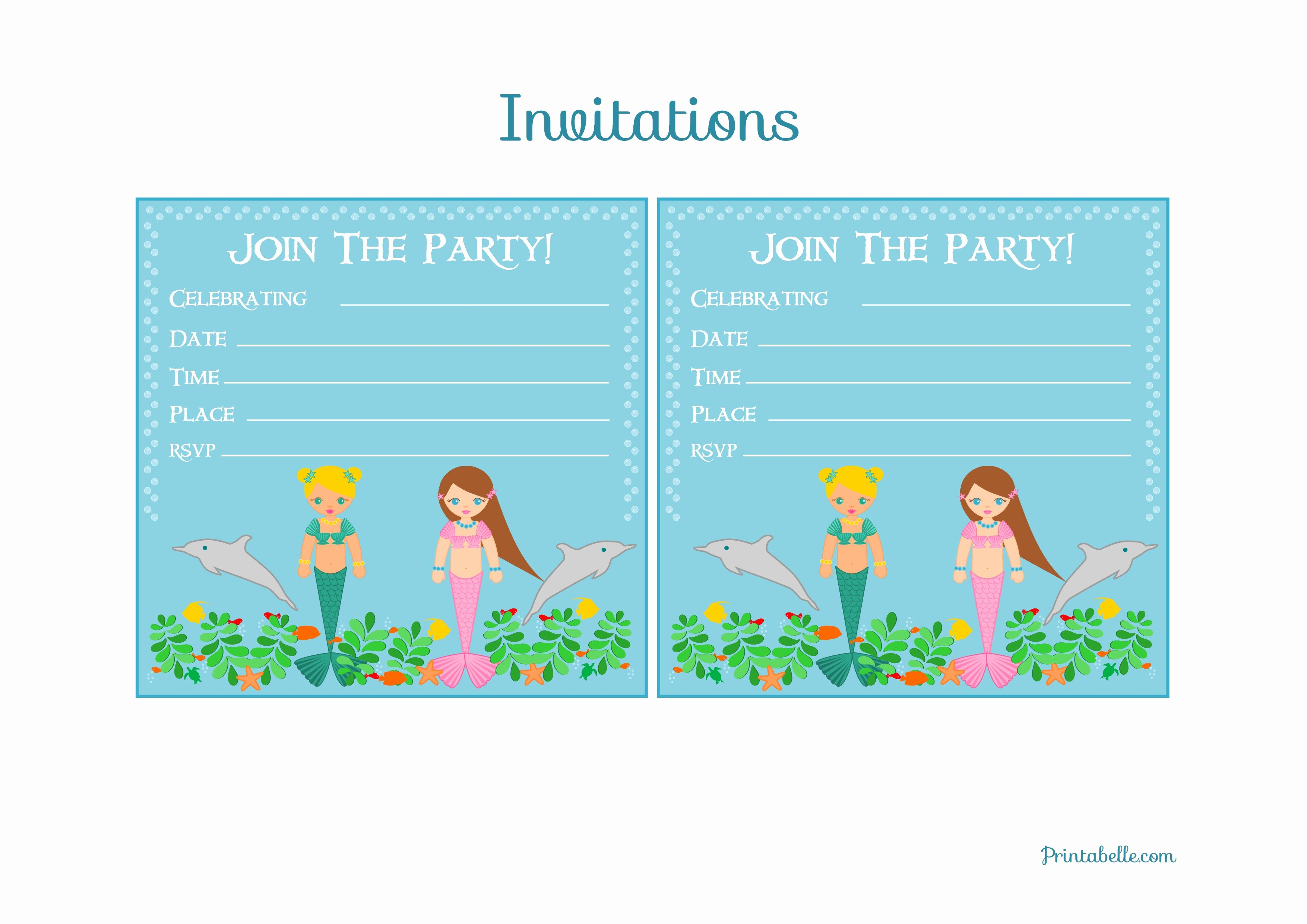 Free Mermaid Invitation Template Awesome Free Mermaid Birthday Party Printables From Printabelle