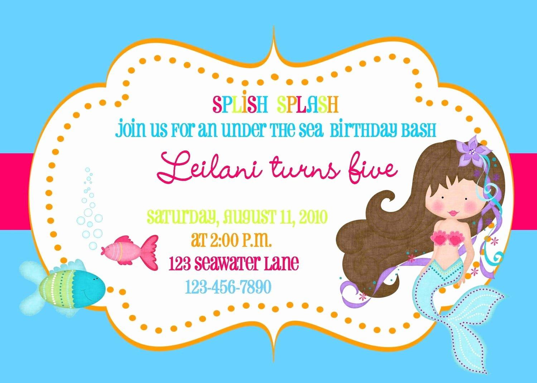 Free Mermaid Invitation Template Awesome Free Mermaid Invitation Template