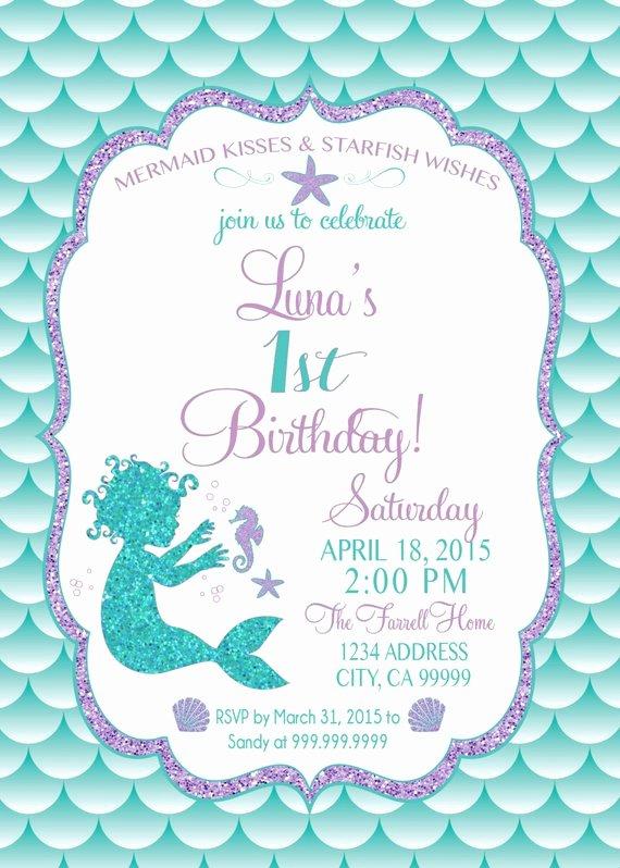 Free Mermaid Invitation Template Awesome On Sale Baby Mermaid Birthday Invitation Mermaid Party Invite