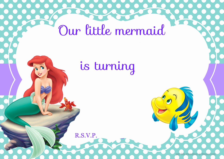 Free Mermaid Invitation Template Awesome Updated Free Printable Ariel the Little Mermaid