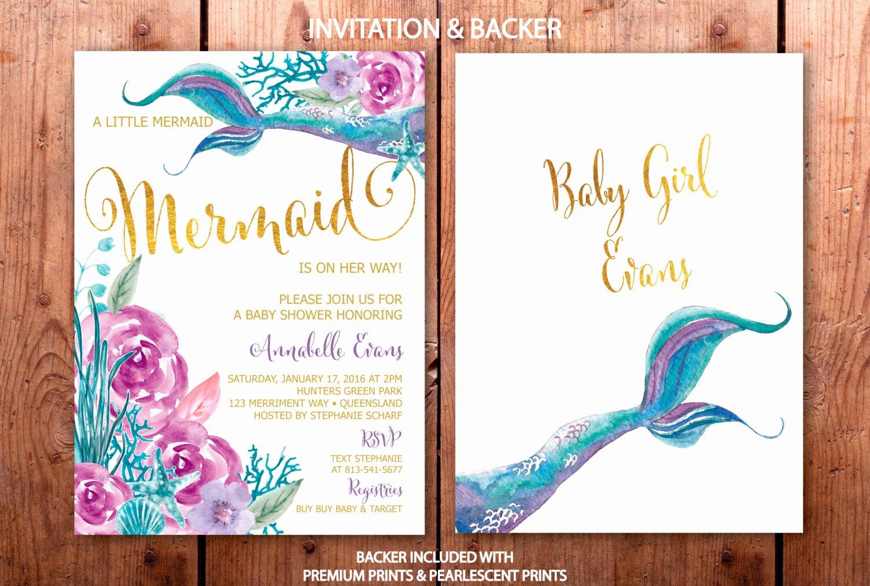 mermaid baby shower invitation under the