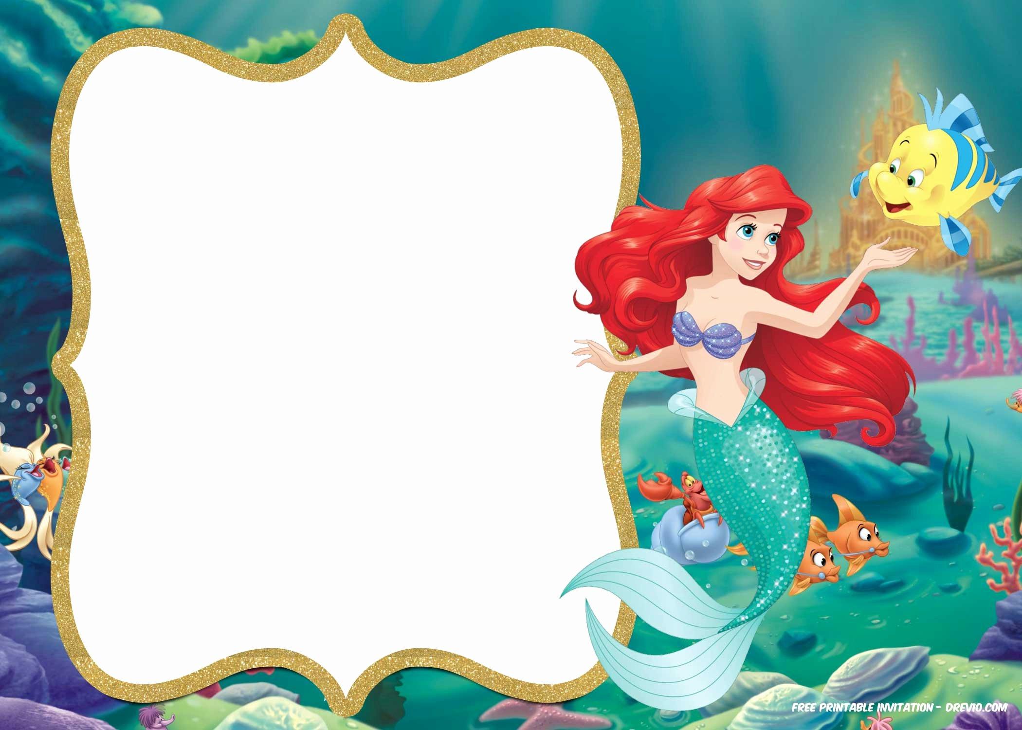 Free Mermaid Invitation Template Elegant Free Printable Ariel Little Mermaid Invitation Template