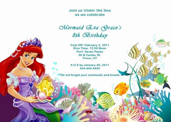 Free Mermaid Invitation Template Fresh Ariel Disney Little Mermaid Free Birthday Invitation Free