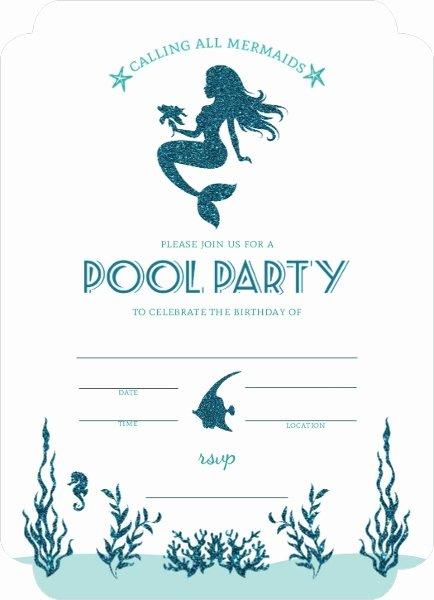 Free Mermaid Invitation Template Fresh Mermaid Pool Party Fill In the Blank Invitation