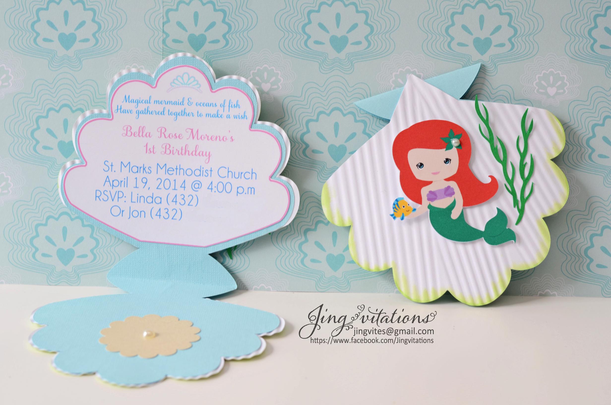 Free Mermaid Invitation Template Fresh Princess Little Mermaid Invitations