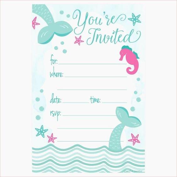 Free Mermaid Invitation Template Luxury Free Printable Mermaid Birthday Party Invitations Best 25