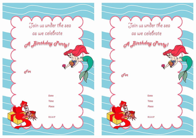 Free Mermaid Invitation Template Luxury Little Mermaid Birthday Invitations – Birthday Printable