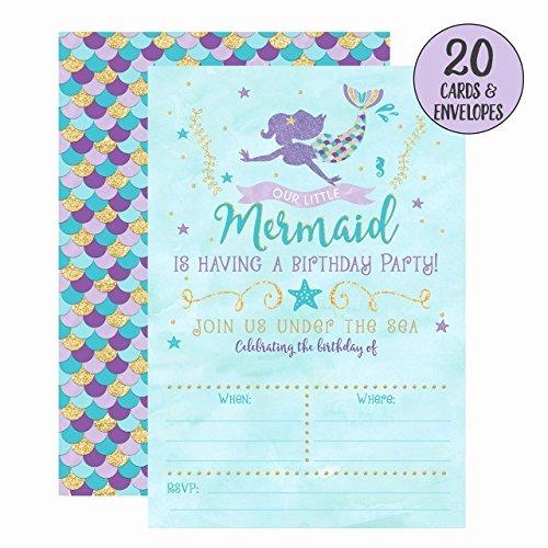 Free Mermaid Invitation Template Luxury Mermaid Birthday Invitations 20 Fill In Mermaid Party