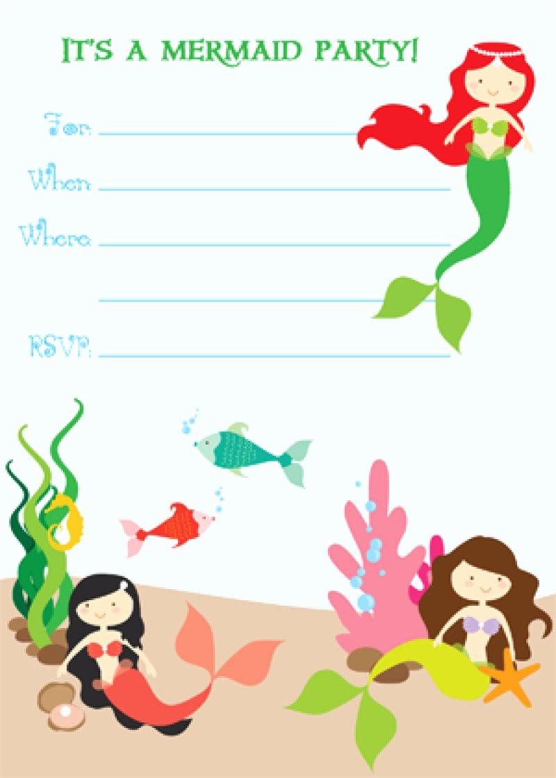 Free Mermaid Invitation Template New Free Printable Mermaid Birthday Invitation