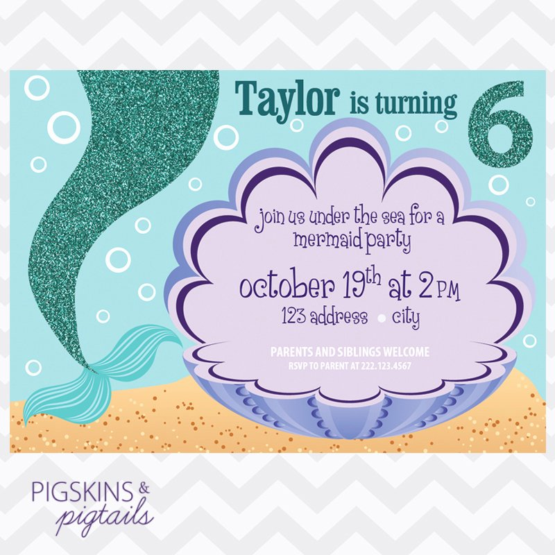 Free Mermaid Invitation Template New Mermaid Birthday Party Invitation Pigskins & Pigtails