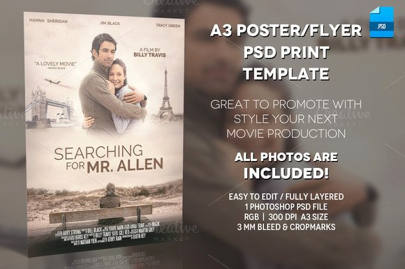 Free Movie Poster Template Beautiful A3 Movie Poster Print Template 1 Flyer Templates On