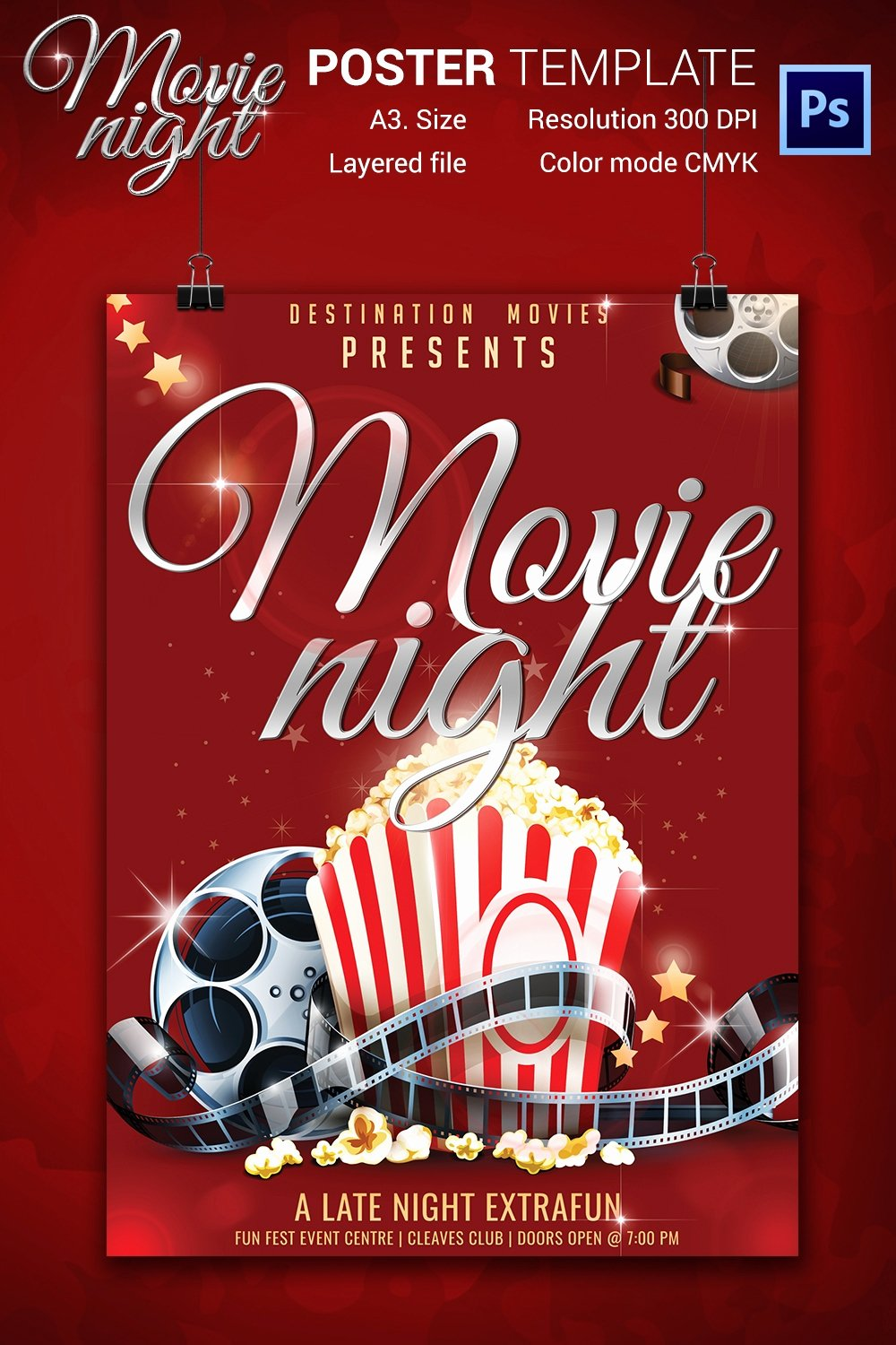 Free Movie Poster Template Lovely Movie Night Flyer Template 25 Free Jpg Psd format