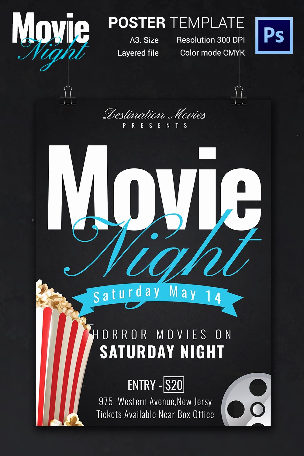 Free Movie Poster Template New Movie Night Flyer Template 25 Free Jpg Psd format