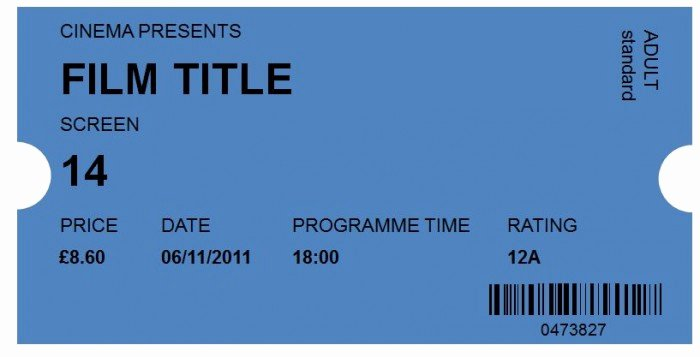Free Movie Ticket Template Awesome 40 Free Editable Raffle & Movie Ticket Templates