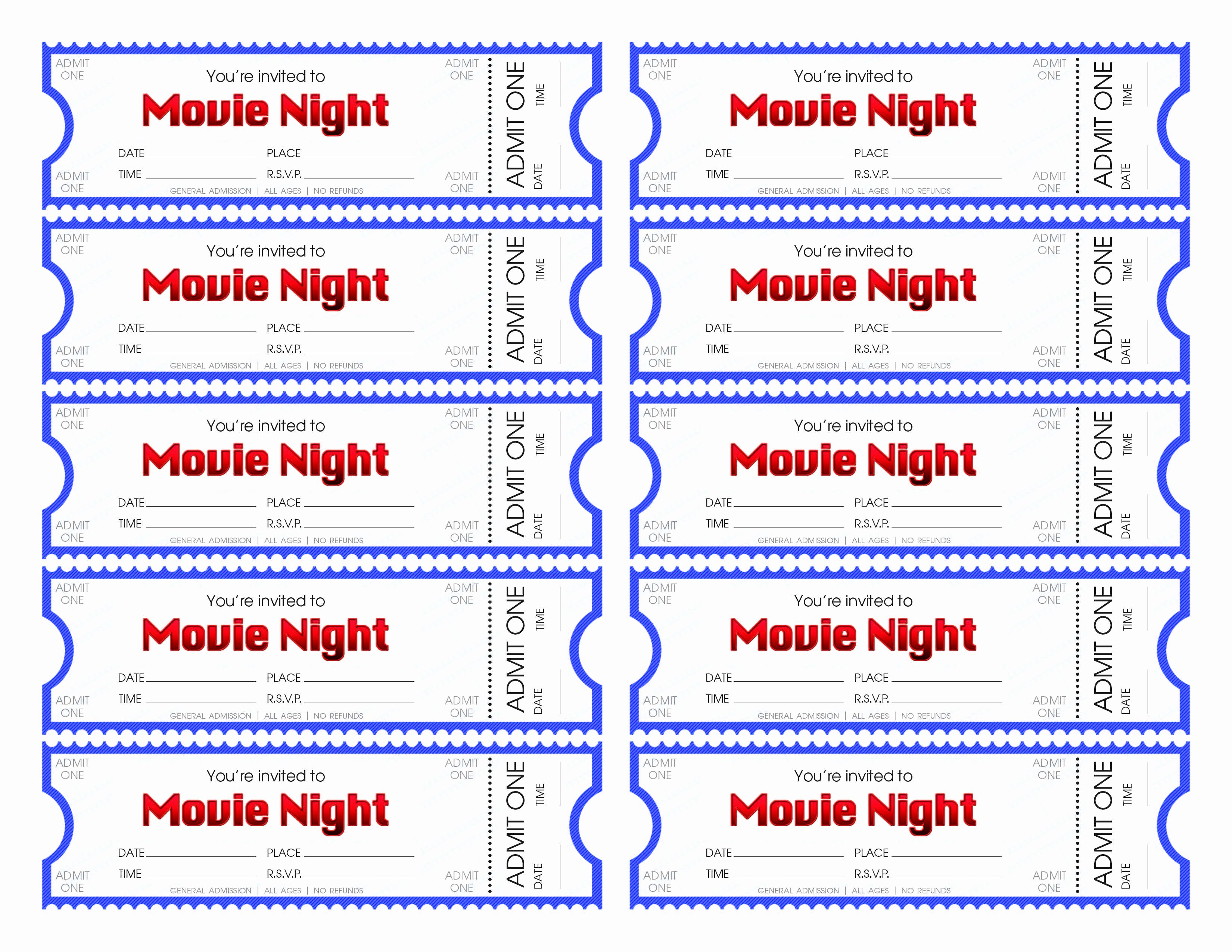 Free Movie Ticket Template Beautiful Make Your Own Movie Night Tickets