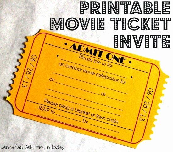 Free Movie Ticket Template Unique Free Printable Movie Ticket Invite Video Tutorial On