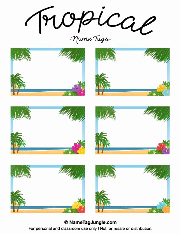 Free Name Badge Template Beautiful Free Printable Tropical Name Tags the Template Can Also