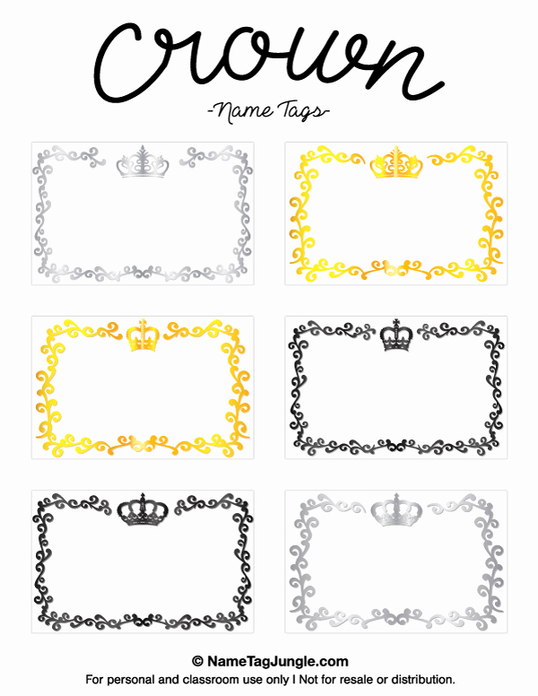 Free Name Badge Template Luxury Printable Crown Name Tags